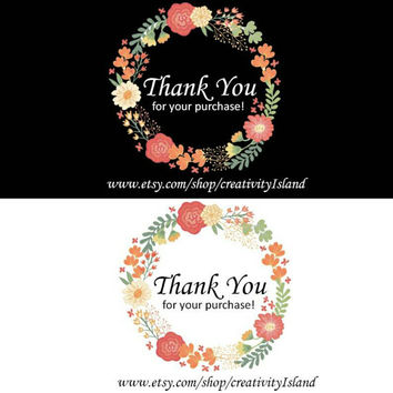 60 Thank you for your purchase inserts. Shop thank you card, etsy small business thank you tags, thank you notes, thank you floral notes.