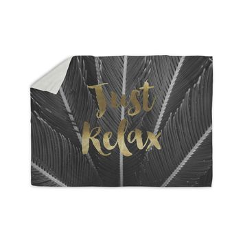 "Kristi Jackson ""Just Relax"" Gold Black Photography Sherpa Blanket"