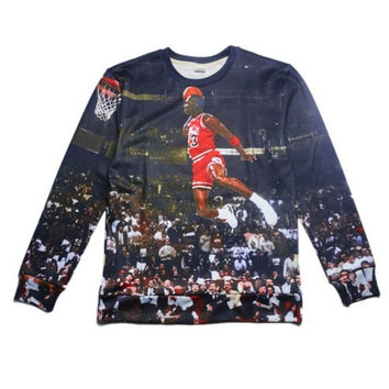 Air Jordan All Over Print Michael Jordan's Famous Dunk Logo In Real Game Play Dunk From Free Throw Line MJ Chicago Bulls 23 Black Crew Neck Sweatshirt