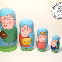 "Nesting dolls ""Peppa Pig"",Matryoshka Doll 5pcs 10 cm, Funny Gifts, Kids Room Decor, Kids Gifts"