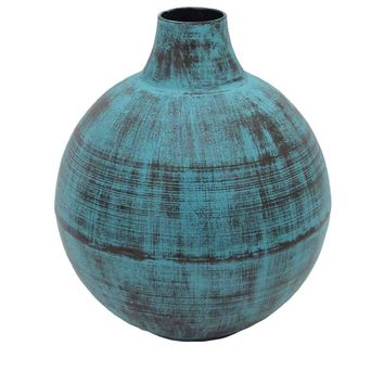 Aged Metal Bottle Vase, Blue-Large