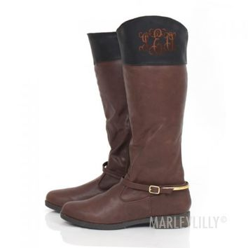 Monogrammed Two Tone Riding Boots | Marley Lilly