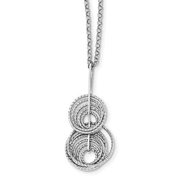 925 Sterling Silver Rhodium-Plated Dangle Diamond Cut Circle 18in with 2in Extension Necklace