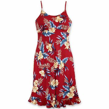 Midnight Maroon Kamalii Hawaiian Dress