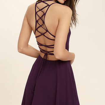 Good Deeds Purple Lace-Up Dress
