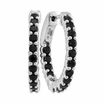 14kt White Gold Women's Round Natural Black Sapphire Hoop Earrings 1-7-8 Cttw - FREE Shipping (USA/CAN)