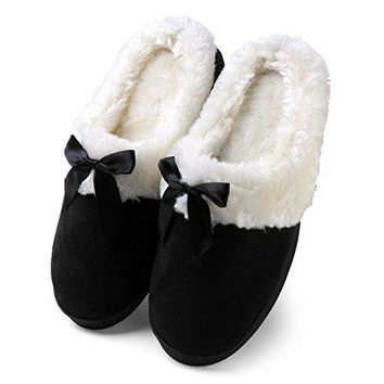 Aerusi Womens Suede Plush Bow Close Toe Memory Foam Indoor Slip On Clog Slipper Bedroom Indoor House Scuff Shoes
