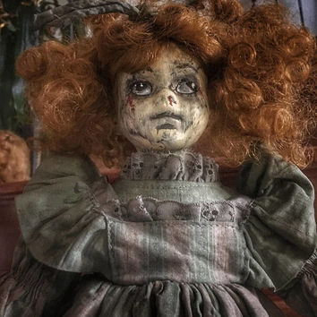 Autumn Creepy Scary Porcelain OOAK Doll