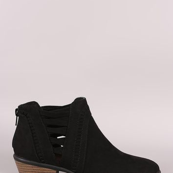 Qupid Perforation And Lattice Suede Booties