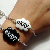 Okay? Okay. Charm Bracelet / The Fault In Our Stars Bracelet / Friendship Jewelry / BFF Set Bracelets / Set of Two Bracelets / Made to Order