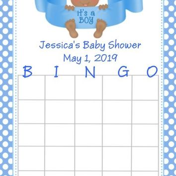10 It's A Boy Baby Shower Bingo Cards Dark Skin