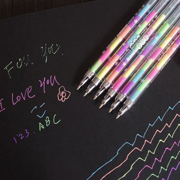 1pcs Cute Design Ink 6 Colors Highlighter Pen Marker