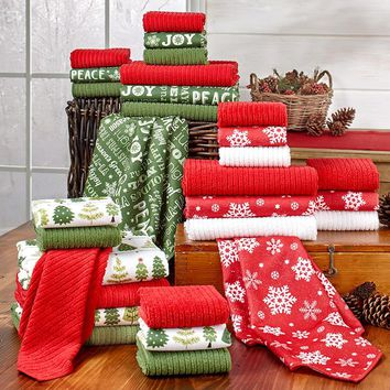 10-Pc. Christmas Kitchen Towel Set Holiday Red White Green Snow Trees or Sayings