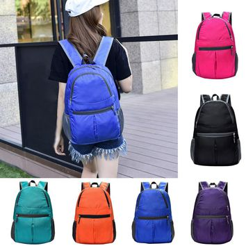 Neutral Fashion Solid Color Zipper waterproof Nylon Shoulder Bag Backpack