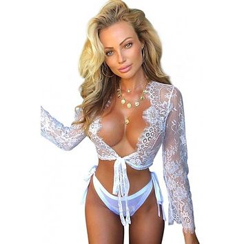 Chic White Long Sleeve Lace Crop Top with Panty