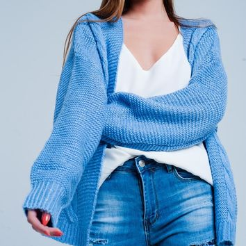 Blue Oversized Cable Knit Cardigan