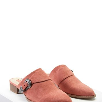 Faux Suede Buckled Mules