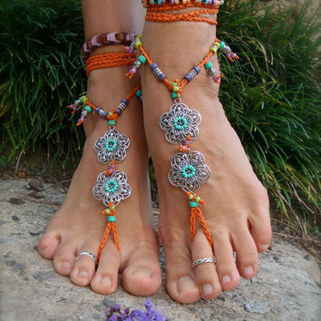 GYPSY summer BAREFOOT Sandals Toe Ankle wraps ORANGE beach wedding rainbow dance bare feet foot jewelry bohemian Toe thongs unique GPyoga