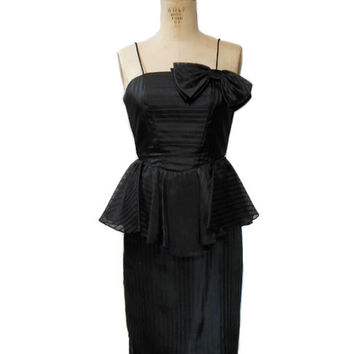 vintage 1980s peplum party dress / black / cocktail dress / jacquard stripes / bow tie / 50s 60s style / women's vintage dress / size small
