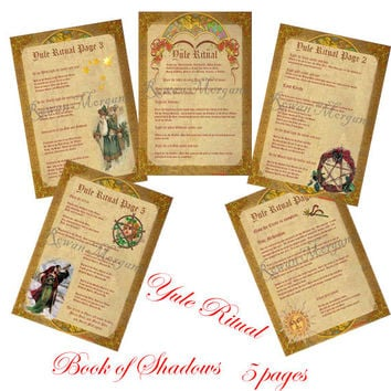 Digital Download, YULE  RITUAL 5 Pages, Book of Shadows, Grimoire, Scrapbook, Spell