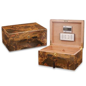 LUXFO Spanish Cedar Wood High light Humidor with Hygrometer Humidifier for Cohiba Cigars