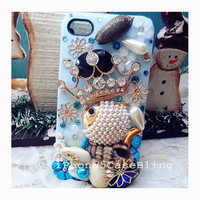 iphone 4 case, OCEAN iphone 4 case, nautical Iphone 5 case, Bling iphone 4 case, unique iphone 4 case Sea shell, Fish iphone 4 case crown