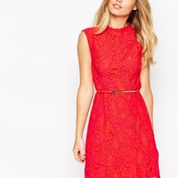 Oasis Lace Dress With Belt