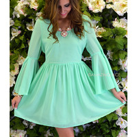 Sherwood Mint Bell Sleeve Dress