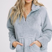 Buzzed On Fuzz Pullover Sweatshirt in Sage