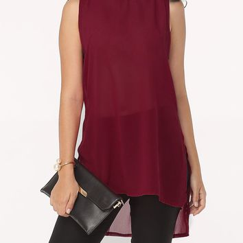 Streetstyle  Casual Hollow Out Plain High-Low Charming Band Collar Blouse