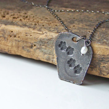 Etsy, Etsy Jewelry, Paw Print Necklace, Dog Paw Print, Cat Paw Print, Steel Metal Clay Necklace, Hadar's Clay Necklace
