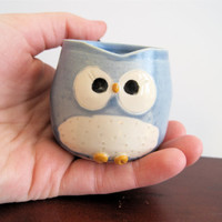 Miniature Hooter owl Mug Shot glass 'Lucky' in by ArtHausCeramics