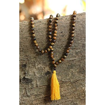 Tiger Eye Buddhist Mala Beads Necklace with Yellow Tassels