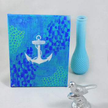 Nautical Anchor Canvas Painting Art - Wall Art Home Decor - Underwater Anchor Artwork
