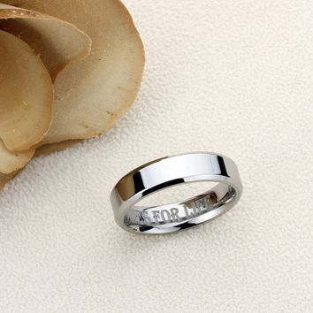 Personalized Name Ring Custom Engraving Tungsten Wedding Band Ring Promise Ring For Men Women 6mm Beveled Edges Flat Classy Ring Inside