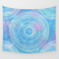 Watercolor Bright Blue Mandala Wall Tapestry,  geometric mandala with blue pink,  dorm room decor