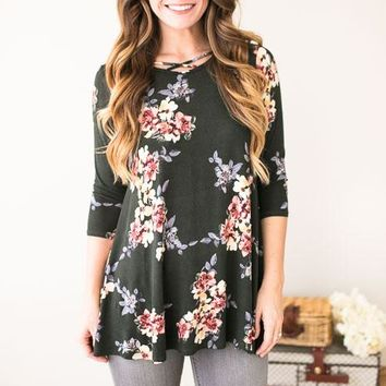Fall Approaching Olive High Low Tunic