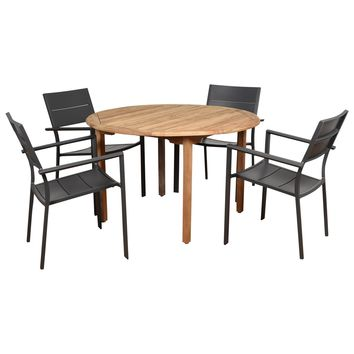 Amazonia Koningsdam 5 Piece Teak Round Patio Dining Set