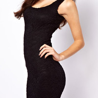 Black Sleeveless Floral Lace Mini Bodycon Dress
