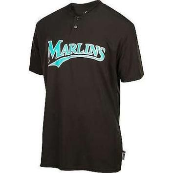 FLORIDA MARLINS Majestic Cool Base TWO BUTTON Officially Licensed MLB Baseball SHIRT J