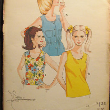 Sale Kwik Sew Sewing Pattern, 553! Sizes 5-11, Girls and Teens, tank tops, Shirts, Summer and Spring, Easy Sew