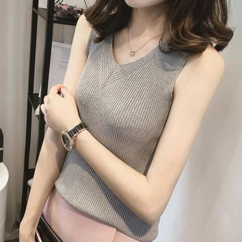 Summer Women Fashion Knitting V-neck Solid Tank Tops Girls Knitted Camisole Sleeveless Tee shirts JH8207