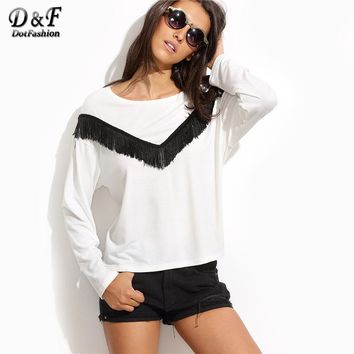 White Fringe Trim Long Sleeve Tee Shirt Female Round Neck Long Sleeve Top Autumn Tassel T Shirt