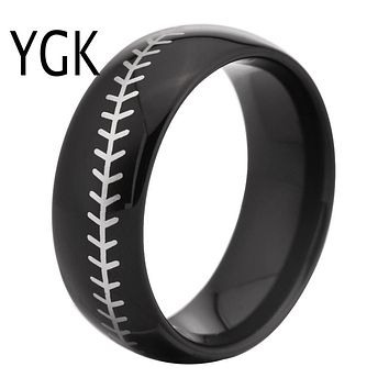 Black Dome Baseball Ring Band with White Baseball Stitch | Tungsten Carbide | Comfort Fit | 8mm