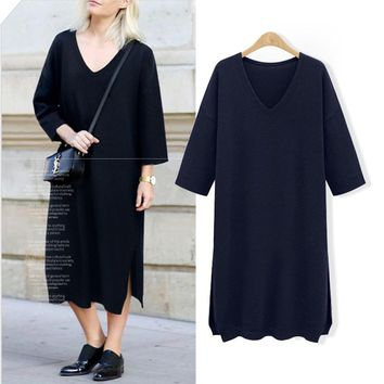 V Neck Three Quarter Sleeve Sweater Dress Women's Clothing Midi Pattern Knit Dress