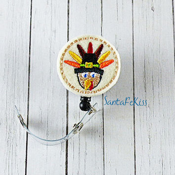 Thanksgiving Turkey Felt Badge Holder with Retractable Badge Reel. A great gift for your favorite nurse, teacher, coworker, SantaFeKiss