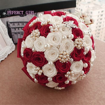 96color Elegant Customized Bridal Wedding Bouquet With Pearl Beaded Brooch Silk Roses,Romantic Wedding Colorful Bride 's Bouquet