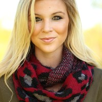 In Love With Leopard Scarf in Red