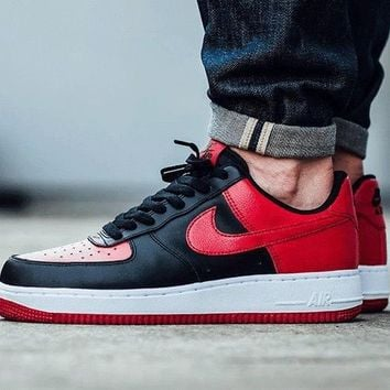 LMFON NIKE Air Force 1 Black Red For Women Men Running Sport Casual Shoes Sneakers