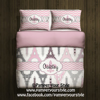 Paris and Chevron Bedding with 2 Matching Shams -  Personalize with Name or Monogram - Pick Your Color and Size - Create My Own Bedding
